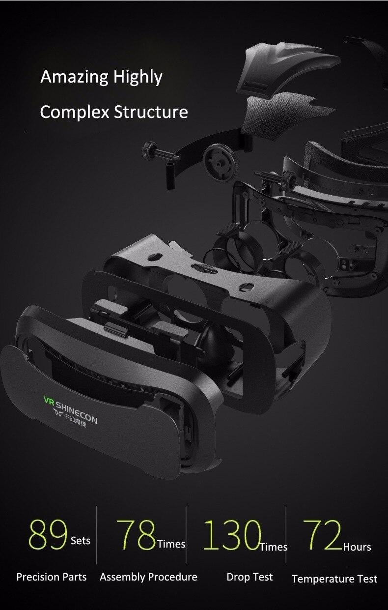 VR Shinecon 2.0 Google Cardboard VR BOX 2.0 Virtual Reality goggles VR 3D Glasses Immersive for 4.5-6.0 inch smartphones 28