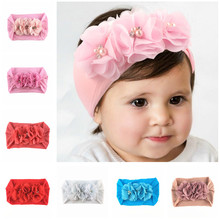 Yundfly New Kids Newborn Nylon Wide Headband With Three Chiffon Flowers Knot Headbands Baby Girls Headwear Hair Accessories