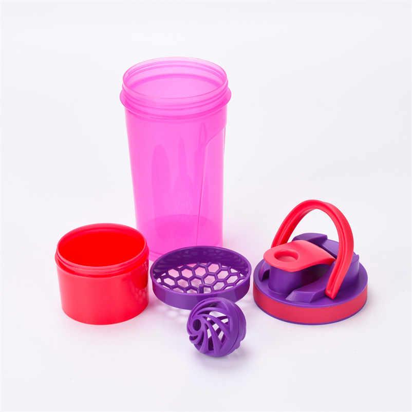 Garrafa Bebida esportiva Garrafa Shaker para a Proteína de Soro de leite Em Pó Garrafa de Água com Alça Bola Shaker Proteina Soro de Leite Copo de Fitness Gym