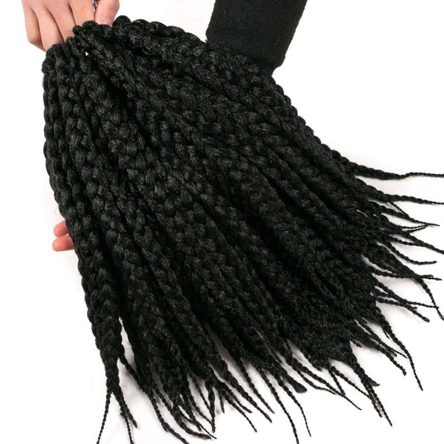 Box Braids Hair 14 inch 6 piece VERVES Crochet Hair Extensions Synthetic low temperature Fiber 12 roots/piece pure color