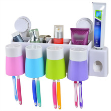 Fashion Automatic Toothpaste Dispenser Toothbrush Holder Set Family Set Wall Mount Rack Bath Oral Holder Wall Stand