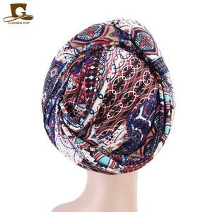 Image 2 - חדש נשים יוקרה בוהמי סגנון טורבן ניגרי טורבן חיג אב ארוך במיוחד צינור ראש לעטוף מוסלמי צעיף turbante שיער אבזרים