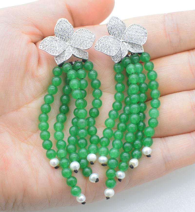 one pair green jade color round 4mm freshwater pearl white tassle hook earrings 60mm wholesale beads FPPJ