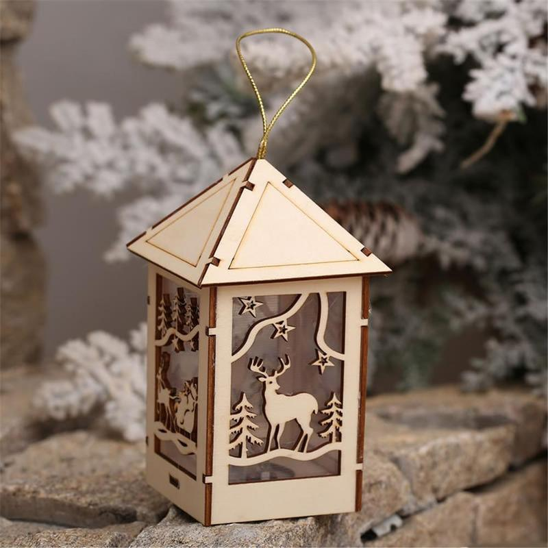 Led Light Wood House Cute Christmas Tree Hanging House Ornaments Holiday Xmas Decoration Ornament Accessories