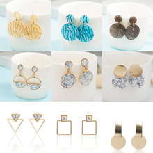 Fashion marble earrings handmade fashion simple geometric round long girls classic charm temperament wholesale