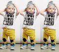 2016 New 2pcs Kids Baby Infant Toddler Boy clothes Tops Harem  Pants Set Clothing Short Sleeve Plaid Cotton Summer Outfits Set