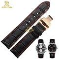 Cuero genuino correa de reloj band negro cosido rojo de la correa de reloj para hombre pulsera de cuero 1819 20 21 22 23 24 mm