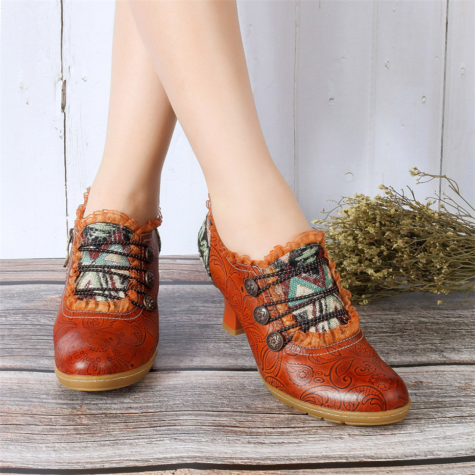 Wine Glasses Women Pumps European Vintage Hand Genuine Leather Shoes Embossed Stitching Spanish Style Four Seasons Women's Shoes (4)