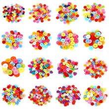 Разные цвета, маленькие пластиковые пуговицы, круглые цветы, божья коровка, Бабочка, Мультяшные кнопки, сделай сам, ремесло, Швейные аксессуары для одежды