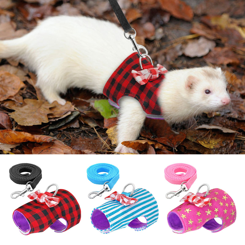 3 colors Pet Clothes 3 sizes Ferret Hamster Squirrel With Leash Soft padded Comfortable Breathable Canvas XS S M Pet Accessories in Leashes from Home Garden