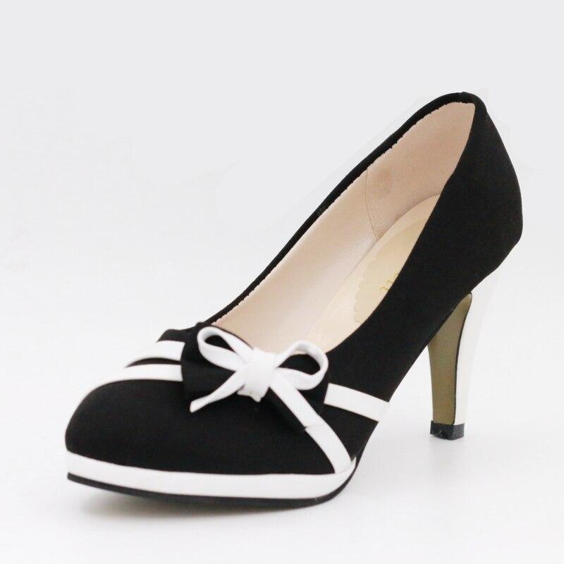 2017 Moda Zapatos Primavera azul Bombas Negro Mujer Señoras Elegante Bowtie Hds72 Plataforma Otoño Azul Y Negro Sexy Talones Las De Mujeres v4wqEvxr