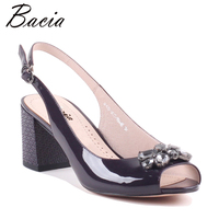 Bacia Purple Full Grain Leather Sandals Solid Classic Thick Heels High Quality Genuine Leather Peep Toe