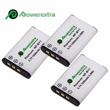 3pcs Powerextra 1050mAh Replacement 3.7v Battery For Sony Handycam NP-BY1 Action Camera Batteries Mini HDR-AZ1