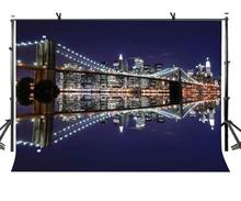 7x5ft Brooklyn Bridge Backdrop Bright Night Photography Background and Studio Props
