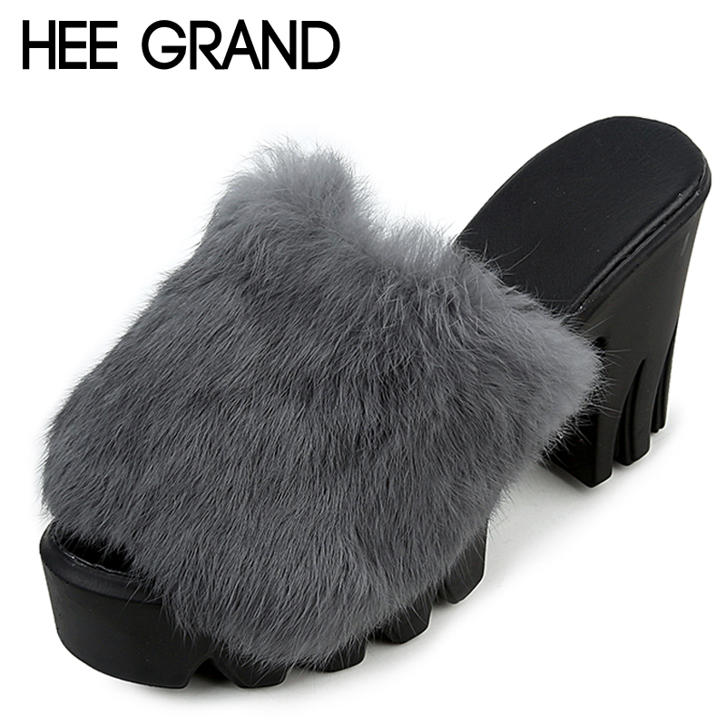 HEE GRAND High Slide Slippers 2018 Square Heels Slides Casual Platform Shoes Woman Winter Warm Outside Slip On Creepers XWT1058