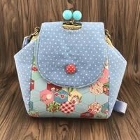 20cm Handmade Cotton Fabric Clutch Purse Metal Frame Bags Kisslock Backpack Shoulder bag Material Kit