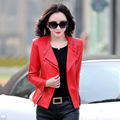 Red Black Green Plus Size M-4XL Large Leather Jacket Lapel Motorcycle Jacket Female 2016 Spring And Autumn New Woman Short Coats