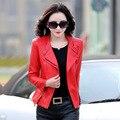 Rojo Negro Verde Más El Tamaño M-4XL Gran Solapa de la Chaqueta de Cuero Chaqueta de la motocicleta Femenina 2016 Primavera Y Otoño Nueva Mujer Corto abrigos
