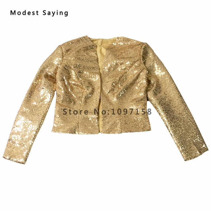 63901dd8ab Luxury Gold Shiny Long Sleeve Sequined Bridal Jackets 2018 Shrugs Formal  High Quality Wedding Coats Boleros Wedding Accessories