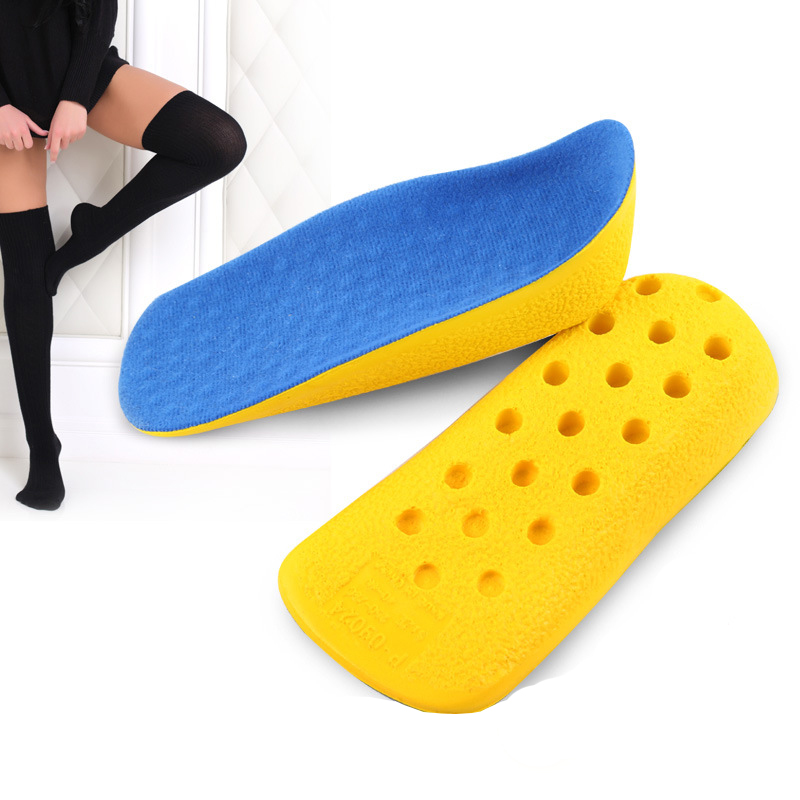 Healthsweet PU Form Heel Heighten in Sock Invisible Arch Support Height Increase Insole half Shoe Pad Inserts for Men Women