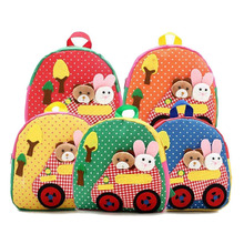 100pcs/lot New Cute Kids School Bags Cartoon Animal Applique Canvas Backpack Mini Baby Toddler Book Bag Kindergarten Rucksacks