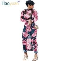 HAOYUAN Plus Size Malha Floral Mulheres Vestido Maxi Manga Longa Vestidos Ver Através Clube Vestido Sexy Festa de Verão Longa Praia vestidos