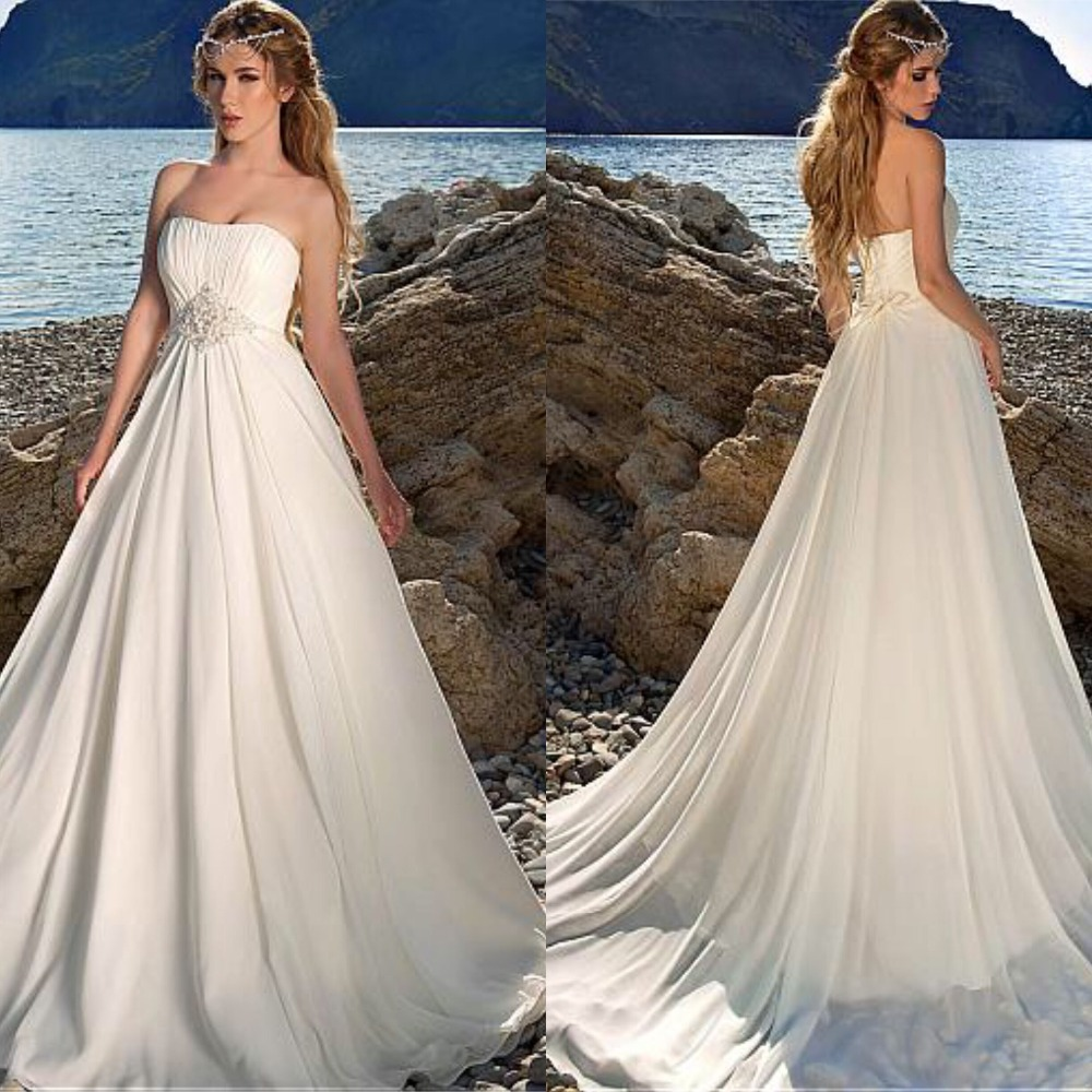 Charming Chiffon Strapless Bridal Dresses  A-line Floor Length Ruched Bodice  Wedding Dresses With Beadings Beach Wedding Gown