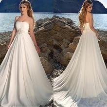 Robe de mariée en mousseline de soie sans bretelles, robe de mariée de plage, ligne a, robe froncée de longueur au sol avec perles