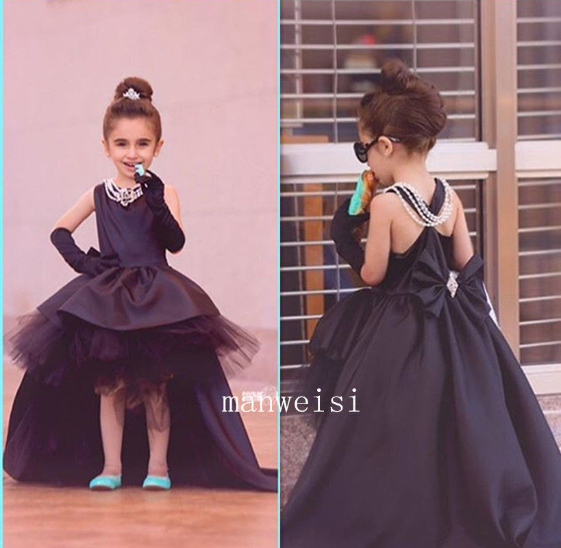 Black Flower Girl Princess Hi-Lo Kid Party Pageant Wedding Bridesmaid Dance Ball christmas dress new flower girls party dress embroidered formal bridesmaid wedding girl christmas princess ball gown kids vestido