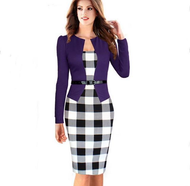 2017 pourpre l gant tunique genou longueur tartan robe femmes robe bureau travail f minin robe. Black Bedroom Furniture Sets. Home Design Ideas