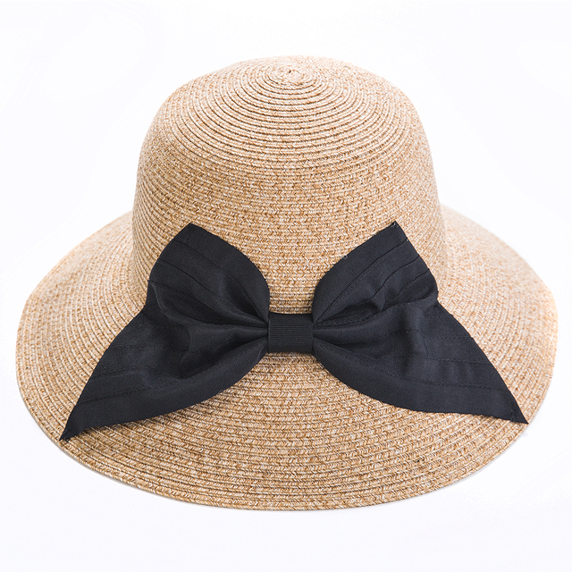 ba3032c64f1 Elegant wide brim straw hats for women UV protection handmade big bowknot sun  hat foldable soft holiday ladies beach cap girls