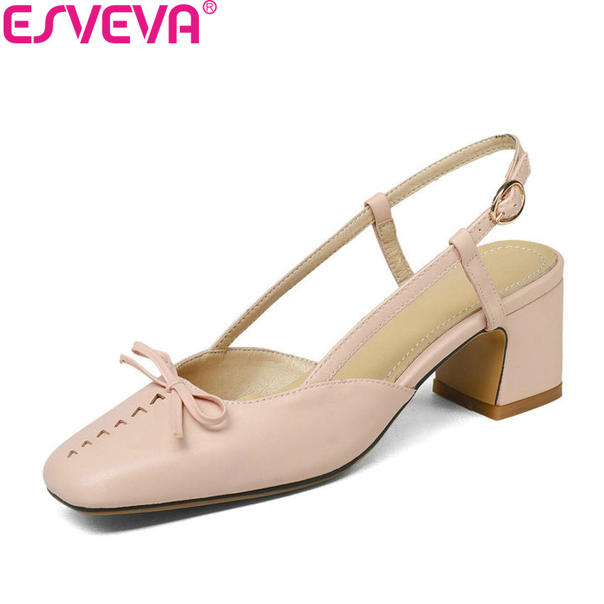 ESVEVA 2018 Women Pumps Slingbacks Shoes High Heels Sweet Style PU Leather Square Heels Square Toe Pumps Women Shoes Size 34-43 esveva 2017 new pointed toe pu women pumps lace up british style fashion shoes women spring square high heel pumps size 34 39
