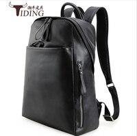 Рюкзак из натуральной кожи человек 2017 новая мода бренды дорожная сумка для ноутбука Повседневное большой черный Для мужчин backpacksreal кожаный