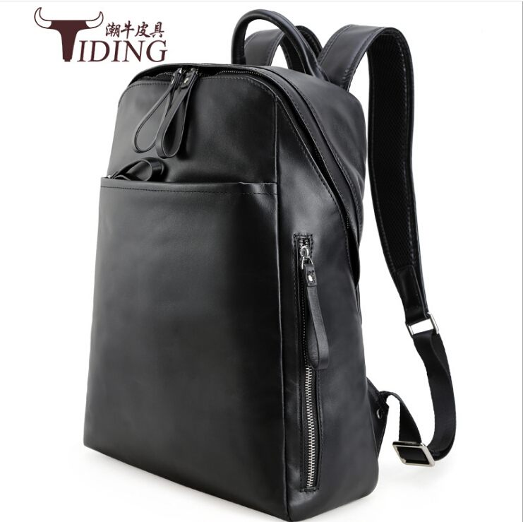 цена Genuine leather backpack man 2017 new fashion brands Travel Laptop Bag Casual large black  Men BackpacksReal Leather Backpack онлайн в 2017 году