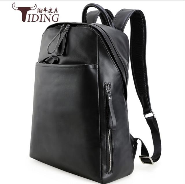 af2990f1cfbd50 Vera pelle zaino uomo 2017 nuovi marchi di moda Laptop Bag di Viaggi  Casuale grande nero