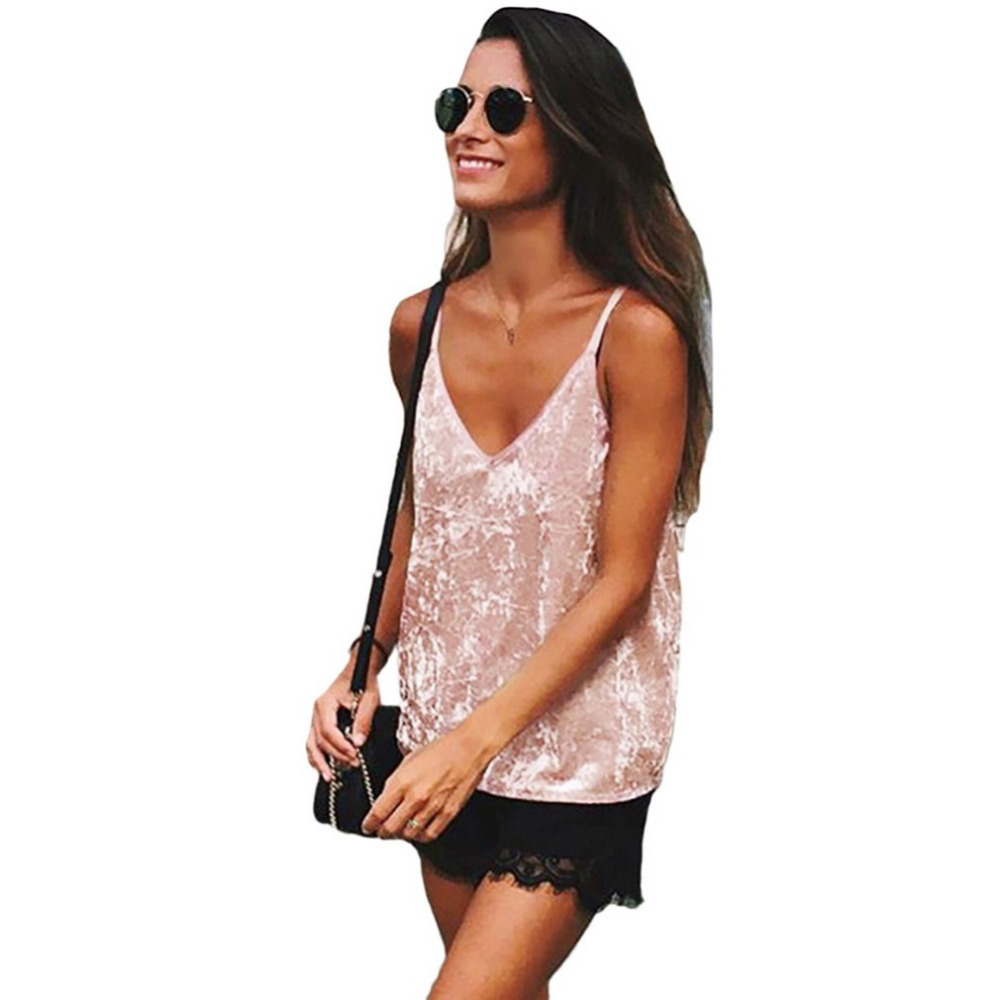 Women Pink Sexy Style Spaghetti Strap Shirts Velvet Camis Sexy Velour   Tank     Top   Casual Blouse Cheap Clothes Feminino Tees