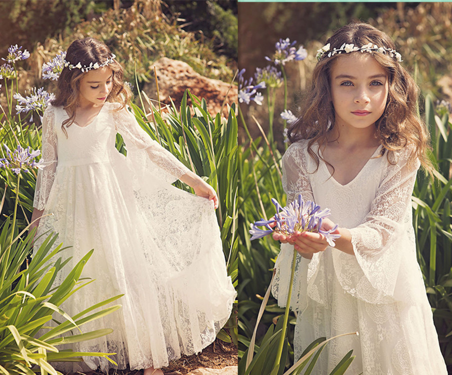 2017 New Boho First Communion Dress White A-Line Long Sleeves Lace Back Zipper Lace Flower Girl Dresses Vestido Daminha Casament new holy pink flower girls dresses a line lace appliques 2017 wedding girl wear first communion dress vestidos de long sleeves