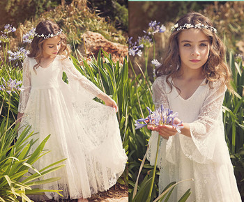 Ivory Boho First Communion Dress White A-Line Long Sleeves Lace Back Zipper Lace Flower Girl Dresses Vestido Daminha Casament