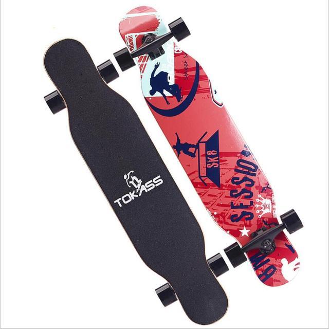 4 ホイールカエデ完全なスケートダンスロングボードデッキダウンヒルドリフト道路ストリートスケートボードロングボード用アダルトユース