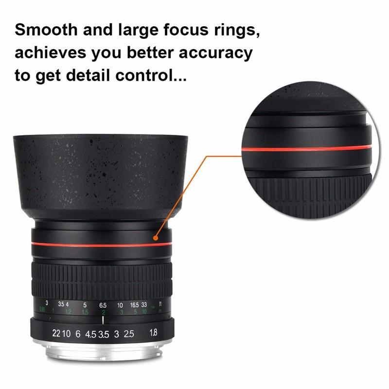 Lightdow 85mm F1.8-F22 Manual Focus Portrait Lens Camera Lens for Canon EOS 550D 600D 700D 5D 6D 7D 60D DSLR Cameras 1