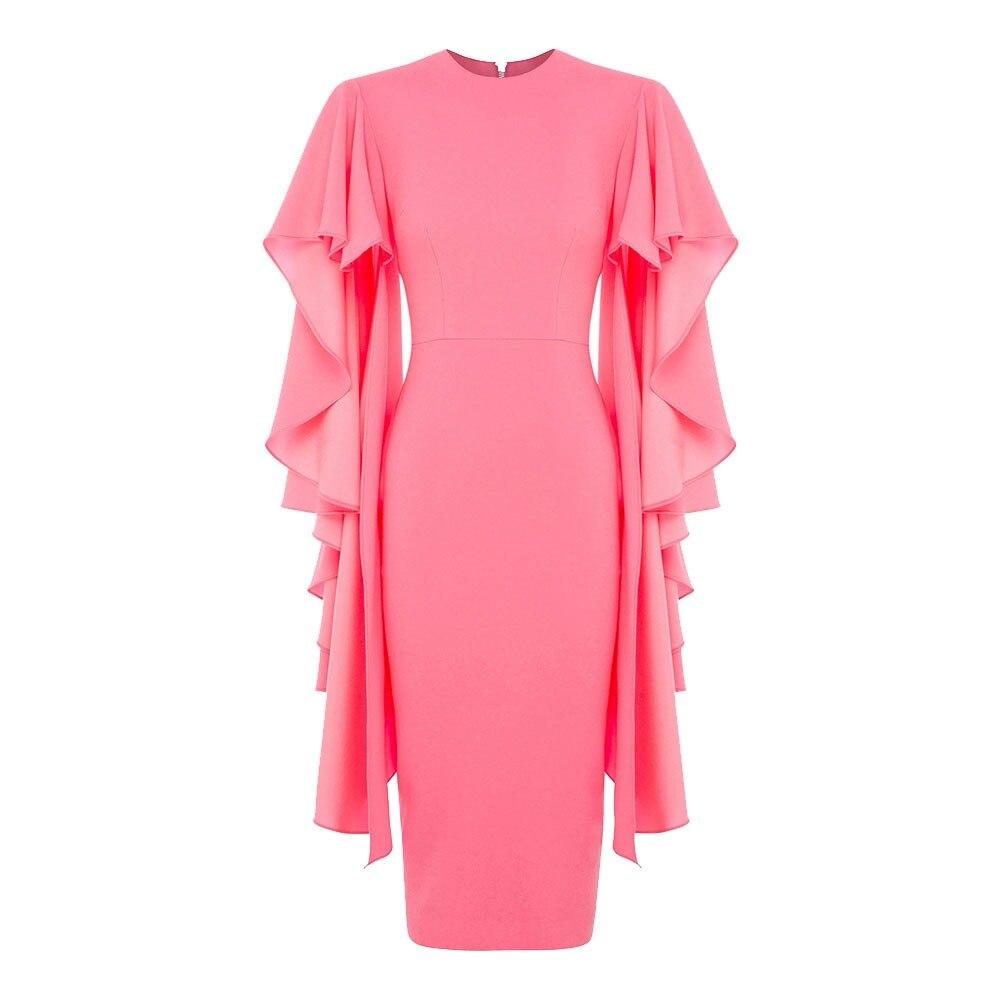 Clocolor Ruffle Sleeve Pink Dress Fashion Women Clothes Bodycon Pencil Midi Dress Female XXXL Elegant Long Sleeve Party Dress