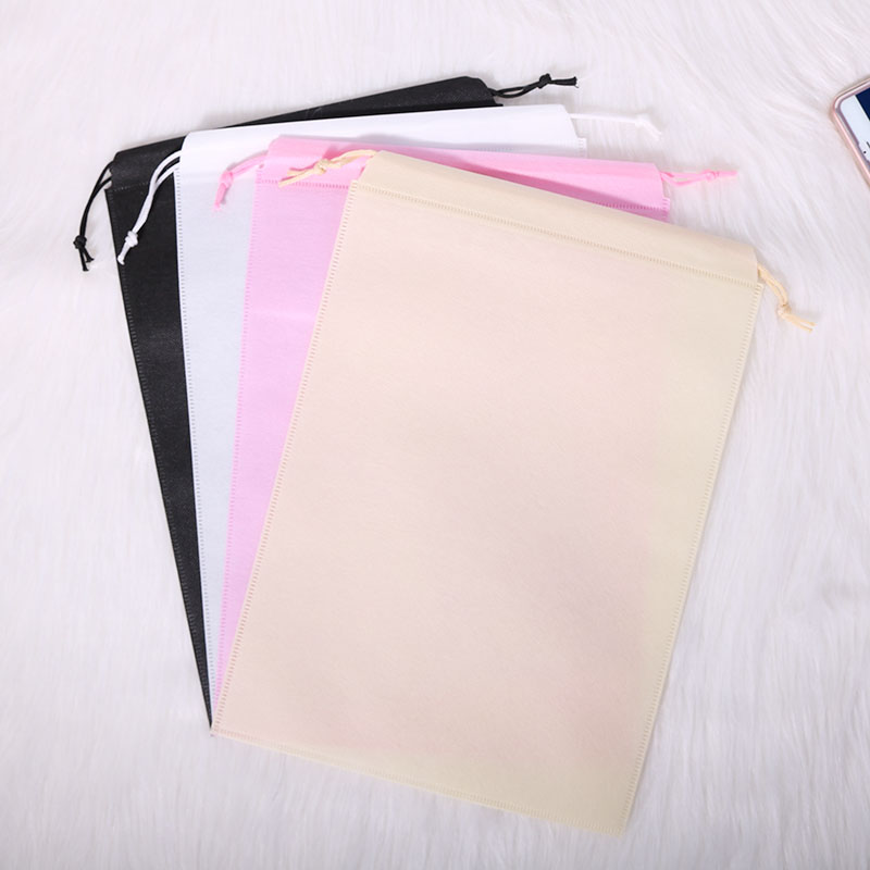 Promotional  White Black 70gsm Non Woven Fabric Eco Drawstring String Bag