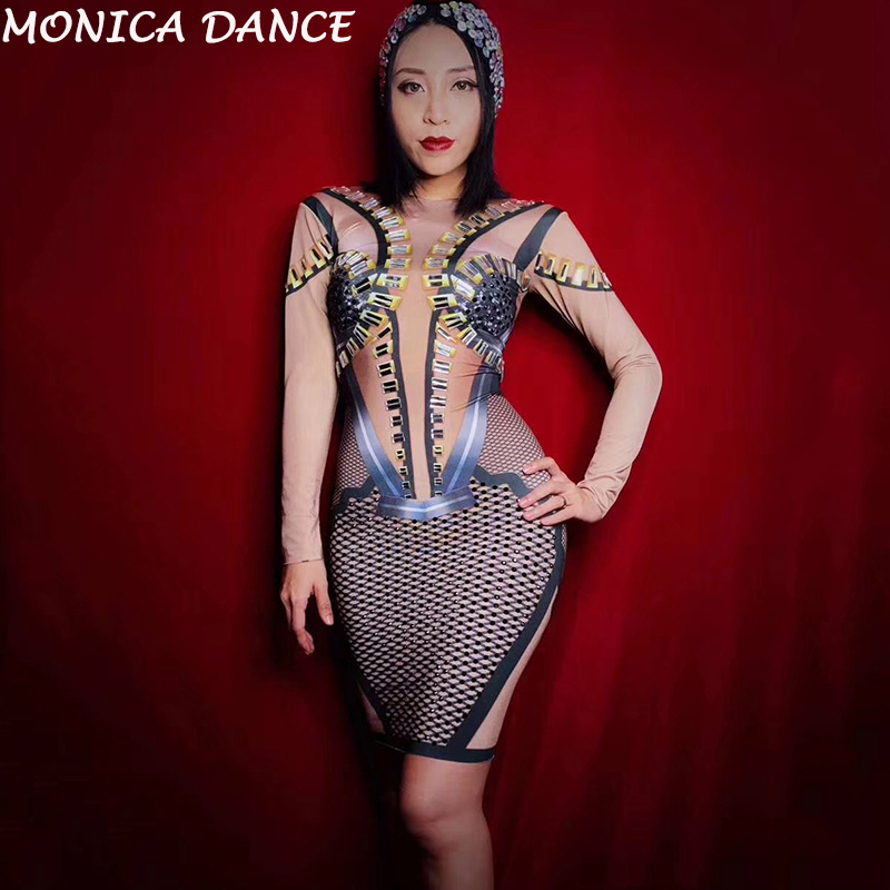 bf6d6fb8b236 Women Sexy Black Bright Rhinestones Long Sleeves Dress Nightclub Dance  Diamonds Dress Birthday Wedding Celebrate Stretch