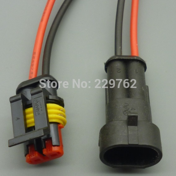2 Pin Way Waterproof Electrical Wire Connector Plug