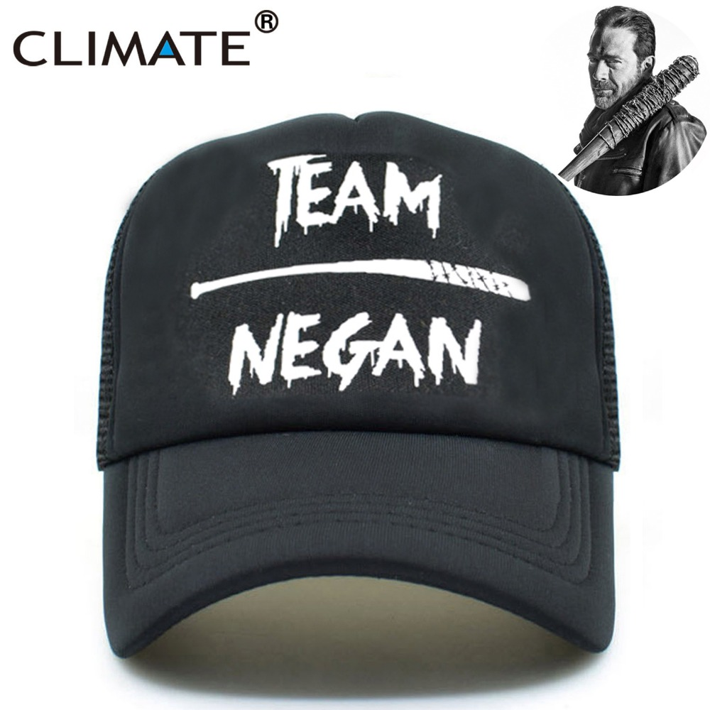 CLIMATE Men The Walking Dead Team Negan Caps Hat Summer Cool Black Mesh Trucker Caps Men Women Summer Cool Baseball Caps Hats climate men women no logo brushed best heavy thick massy warm baseball caps twill sports active casual one size adjustable hat