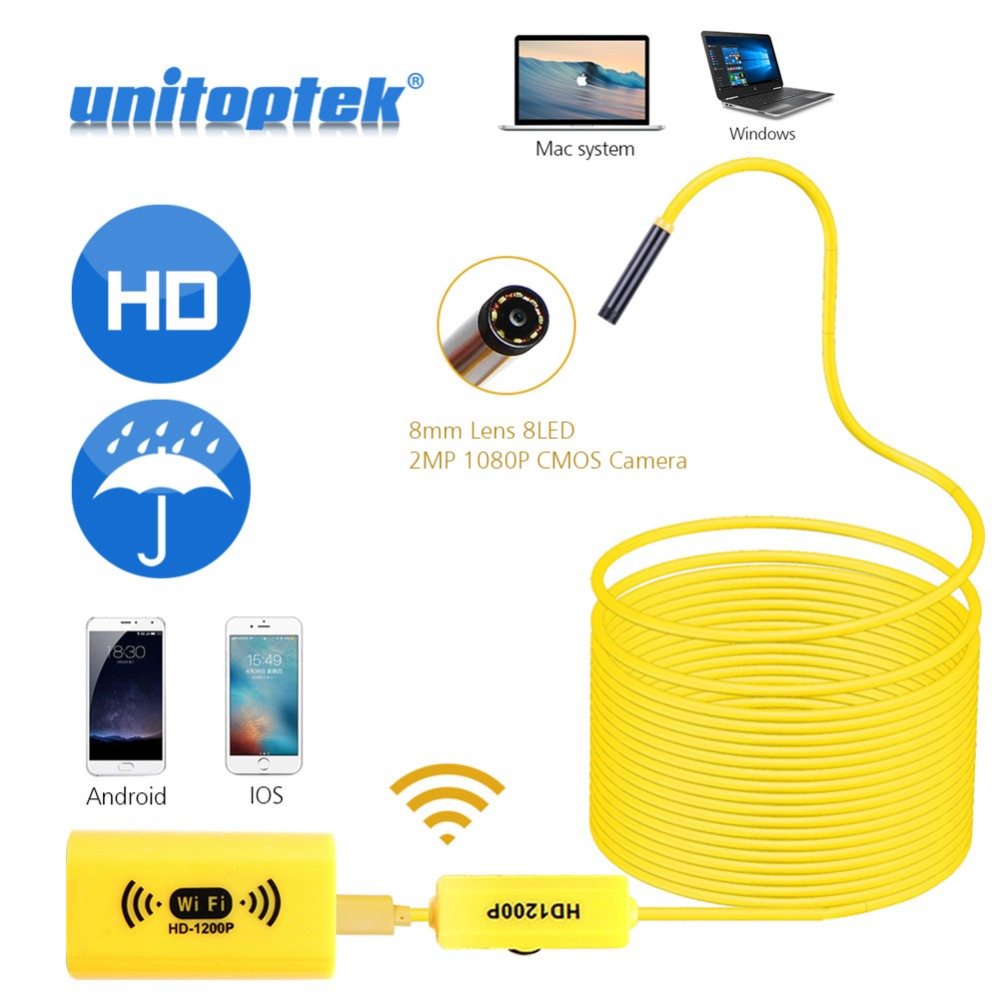 1M 2M 5M WIFI Endoscope 1200P HD Camera 8mm For Android IOS iPhone Wire pipe Snake Camera Car Inspection Camera Semi-Rigid Cable gakaki hd 8mm lens 20m android phone camera wifi endoscope inspection camera snake usb pipe inspection borescope for iphone ios