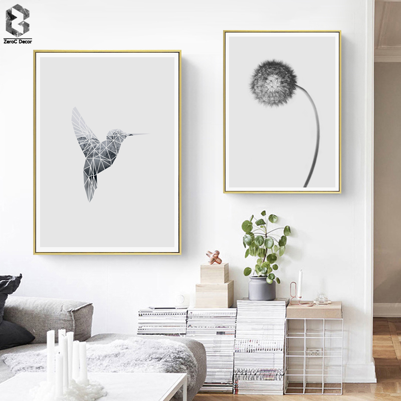 Scandinavia Bird Flower Wall Art Canvas Poster Print Black White Nordic Decoration Painting Decorative Picture|Painting & Calligraphy| |  - title=