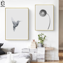 Scandinavia Bird Flower Wall Art Canvas Poster Print Black White Nordic Decoration Painting Decorative Picture