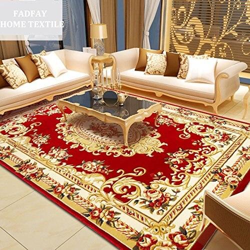 WINLIFE Élégant Américain Rustique Floral Salon Tapis, Moderne Européenne Tapis Pour Salon, Designer Rouge Tapis