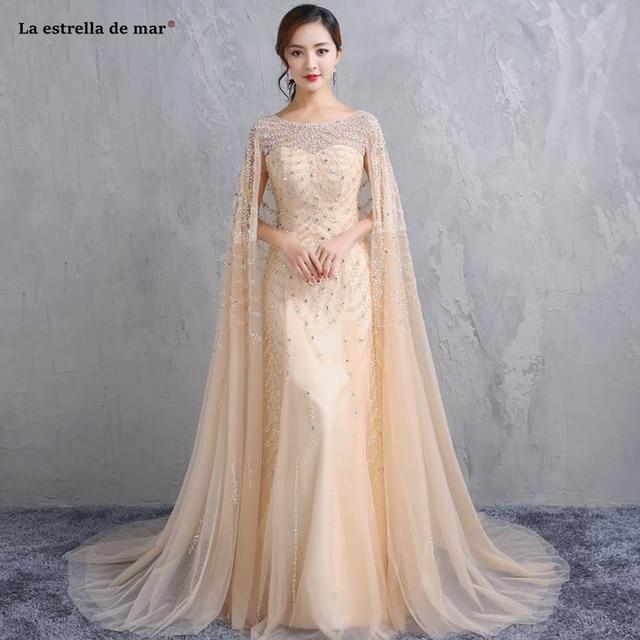 fa529bf422 Robe de soiree2019 new Scoop neck tulle crystal champagne sexy mermaid  evening dresses long long kaftan dubai high quality